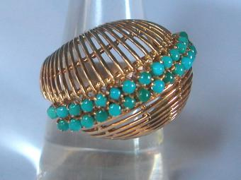 Uniquely Shaped Gold and Turquoises Ring