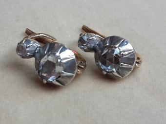 Antique Earrings with Large Rose Cut Diamonds