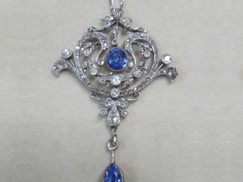 French Edwardian Platinum Pendant with Diamonds and Sapphires