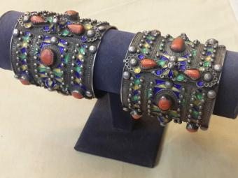 North African Bracelets set with Corals and Enamel