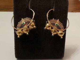 Ethnic Gold Gypsy Earrings with Fine Filigree