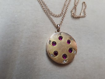 Locket Pendant with Rubies and Rose Cut Diamonds