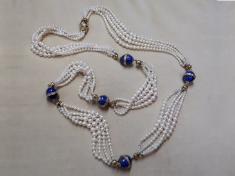 Pearl Necklace with Lapis, set with Diamonds and Gold