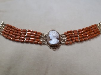 Corals Bracelet with Gold Framed Antique Cameo
