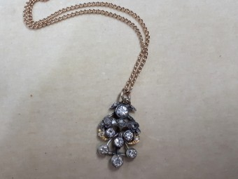 Antique Pendant with Large Sparkling Diamonds