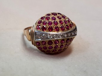 French Ring with Rubies and Diamonds
