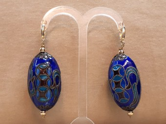 Silver and Gold Egg Shaped Earring with Enamel