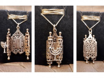 Gold Pendant Opens into Two Torah Books and a Menorah