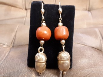 Long Gold Earrings with Large Red Coral