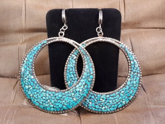 Round Silver Earrings Set with Tiny Turquoise Stones