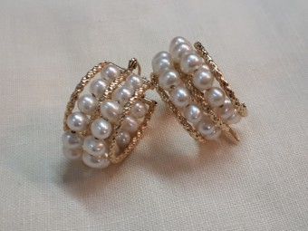 Gold Pearls Gypsy Earrings