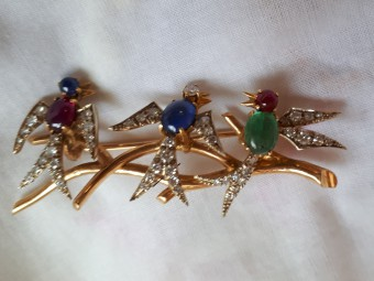 Gold French Brooch with Precious Stones