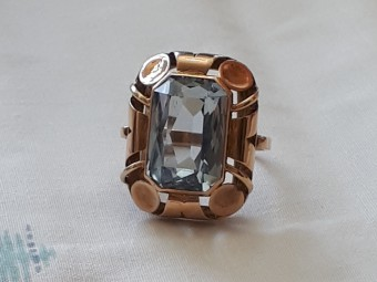 60s Large Aquamarine Ring