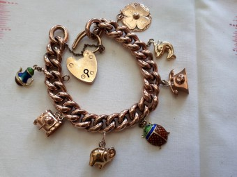 Antique English Bracelet with Heart Shaped Locket and Seven Dangled Charms