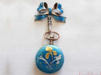 Turquoise Enamel and Silver Pocket Watch