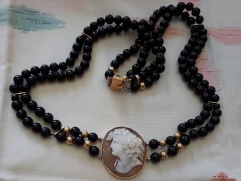 Onyx Necklace with a Beautiful High Quality Cameo