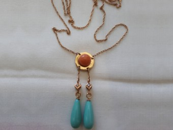 Gold Necklace with Corals, Turqouises and Antique Pearls