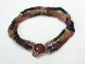 Agates Bracelet with Gold & Rubies Lock