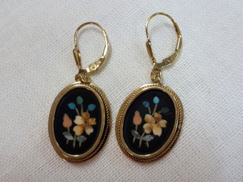 Gilded Silver Earrings with Pietra dura