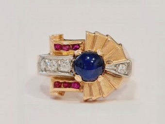 Tiffany Modelled Gold Ring with Large Sapphire, Diamonds and Rubies
