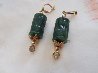 Gold Earrings with Jades and Diamonds