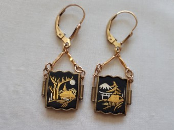 Gold and Copper Japanese Amita Earrings