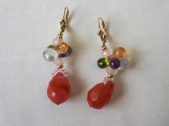 Gold Earrings with Briolette Cut Gemstones in 6 Colors