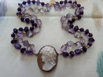 Amethysts Necklace with Antique Cameo of Woman's Head