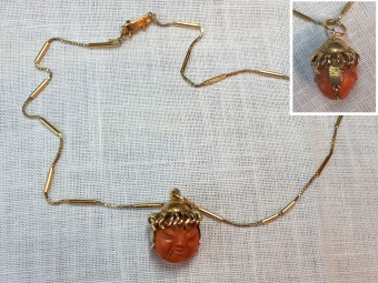 Gold Pendant with Two-Side Coral Cameo
