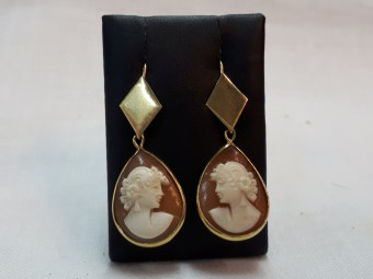 Gold Earrings with Cameos of Beautiful Woman Face