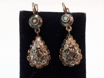 Victorian Gold Earrings with Rose Cut Diamonds